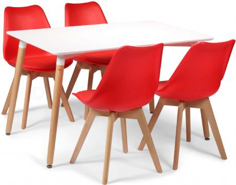 Toulouse Tulip Eiffel Designer Dining Set White Rectangular Table & 4 Red Chairs Sale Now On Your Price Furniture
